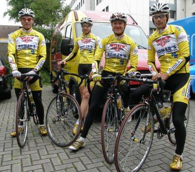 Das Team Atlas Romer's Hausbäckerei bei der Deutschen Straßenmeisterschaft in Bochum (von links): Nico Graf, Martin Lang, Nico Schneider, Timo Honstein